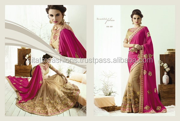 Heavy Embroidery Saree+Catonic/Nylon net skirt with Jequard blouse