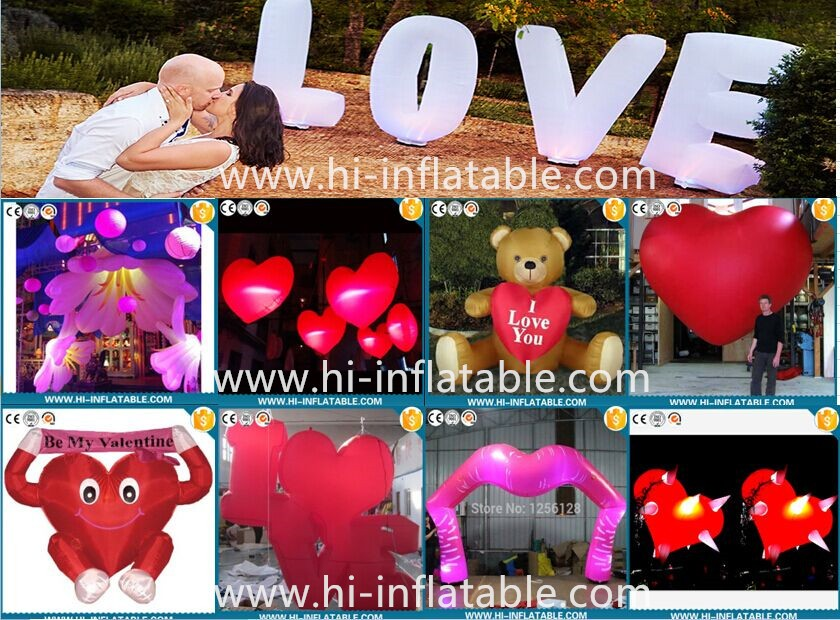 2016 high quality outdoor inflatable valentine heats Valentine stage decorations