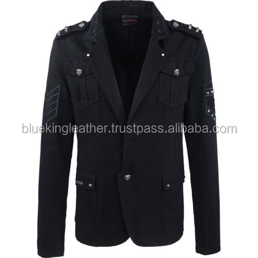 Gothic blazer with studs and epaulets for men
