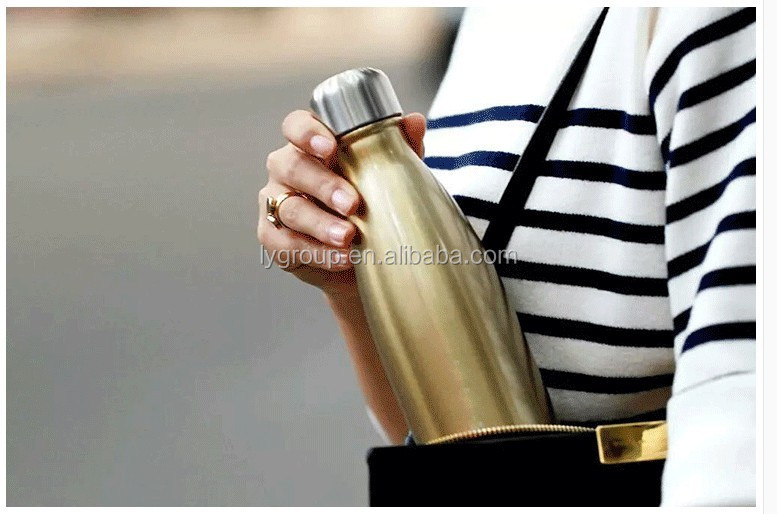 Stainless Steel Insulated Water Bottle Best Sports Double Wall - 17oz BPA Free - Vacuum Keeps Drink Won't Leak or Sweat