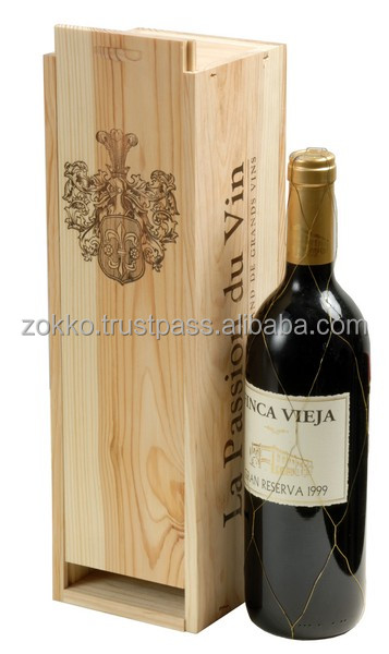 Wooden box for 1 bottle, wine gift package, plywood, MDF veneer
