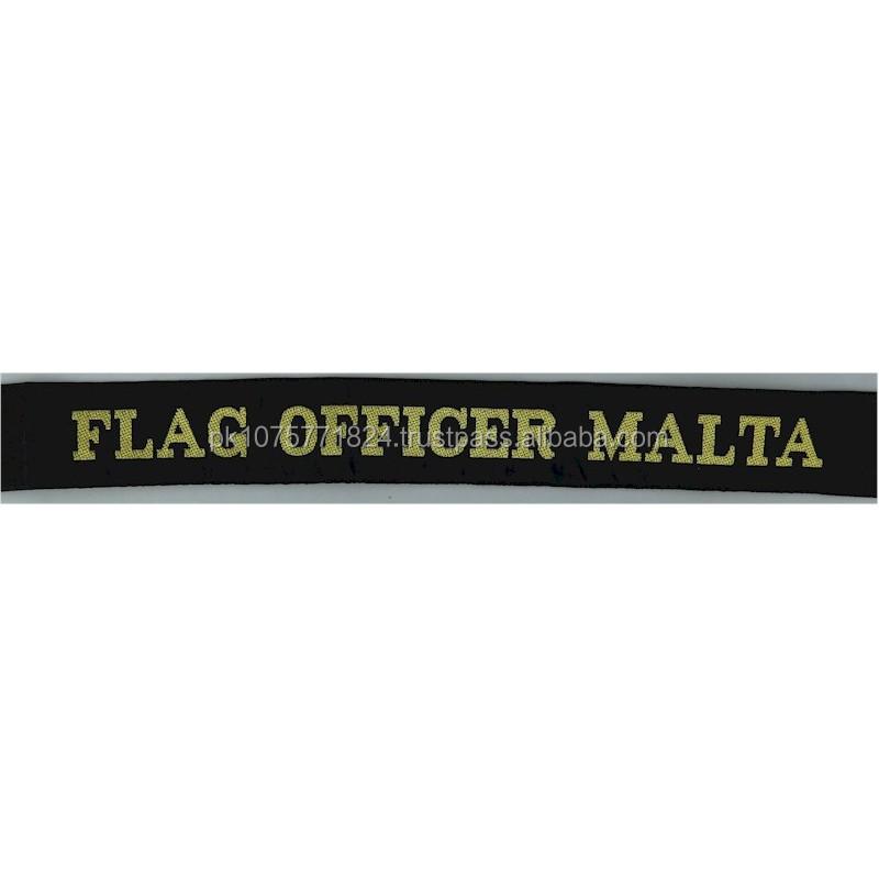 WOVEN BADGES Flag Officer Malta Cap-Tally Woven Naval cap badge or cap tally