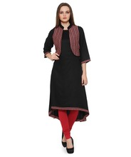 Women Ethnic Wear - Ladies Casual Kurta with Printed Jackets - Round neck, 3/4th Sleeve - 100% Cotton Fabric - OEM Wholesale