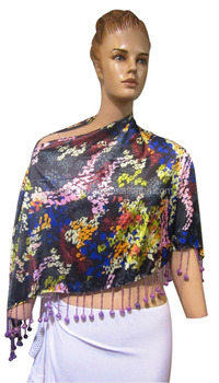 Nice design Satin Printed Heavy Beads Ruhana Ponchos for womens
