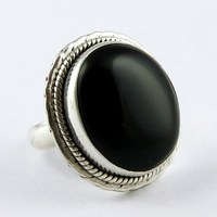 Store Of Love !! Black Onyx 925 Sterling Silver Ring Size-7.0 US, All Over World Shipping, Online Sale Silver Jewelry