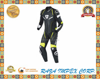 1 Piece Leather Suit - Black / Neon Yellow / MotoGP spec leather track suit with hydra bag compatable race hump