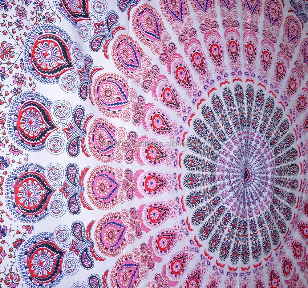 Indian pink peacock meditation mandala hippy bohemian tapestry wall hangings throw cotton bed cover ethnic decorative tapestry