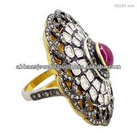 925 Sterling Silver Ruby Ring, Rose Cut Diamond Antique Reproduction Jewelry, Gemstone Vintage Ring