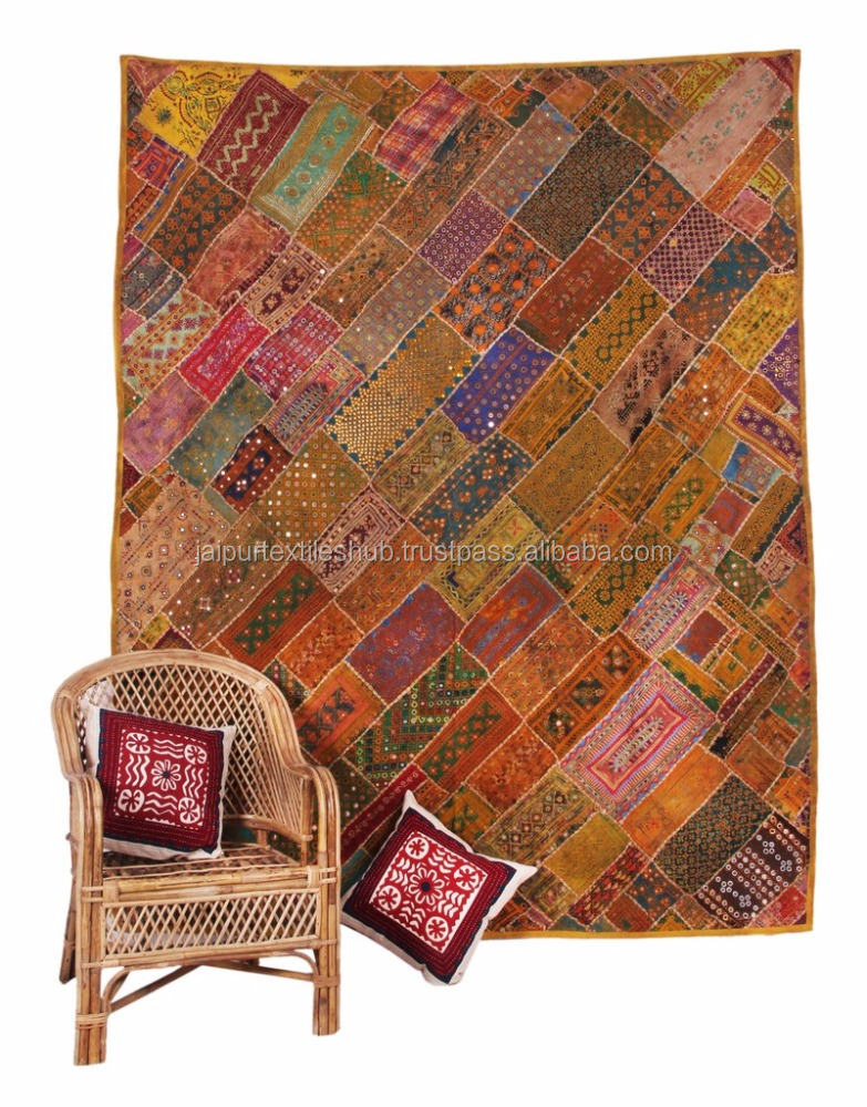 Indian Heavy Zari Beaded Tapestry Wall Hanging Patchwork Decorative Runner Tapestry