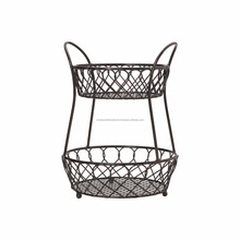 2 Tier Metal Wire Fruit Storage Basket.