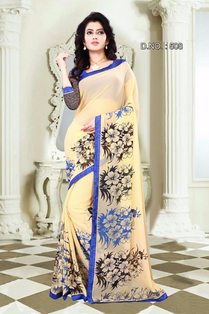 Georgette Printed Low Price Online Wholesale Shopping Indian Sarees 2016