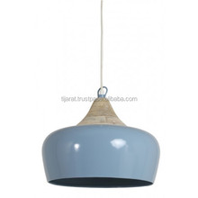 Wood Metal Ceiling Pendant Light / Iron + Wood Hanging Shade Lamp