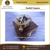 Vintage Style Nautical Brass Sundial Compass with Wooden Box Available at Amazingly Low Price