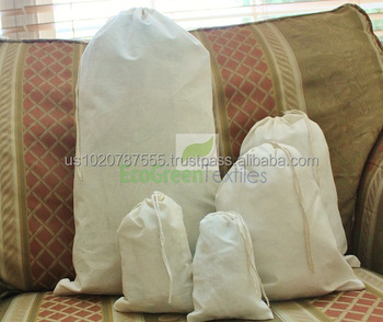 8' x 10' Single Drawstring Cotton Muslin Bag High Quality. Natural Color