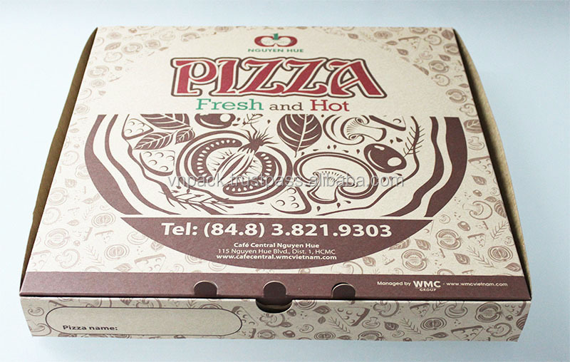 High Quality Vietnamese Pizza Box with Custom Logo Printing