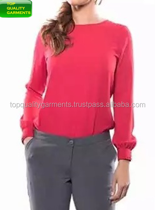 Women Girls Ladies Simple Blue Plain Colour Blouse Shirt Loose Classic Red Office Wear Garment Voilie Cotton Broadcloth #4501921
