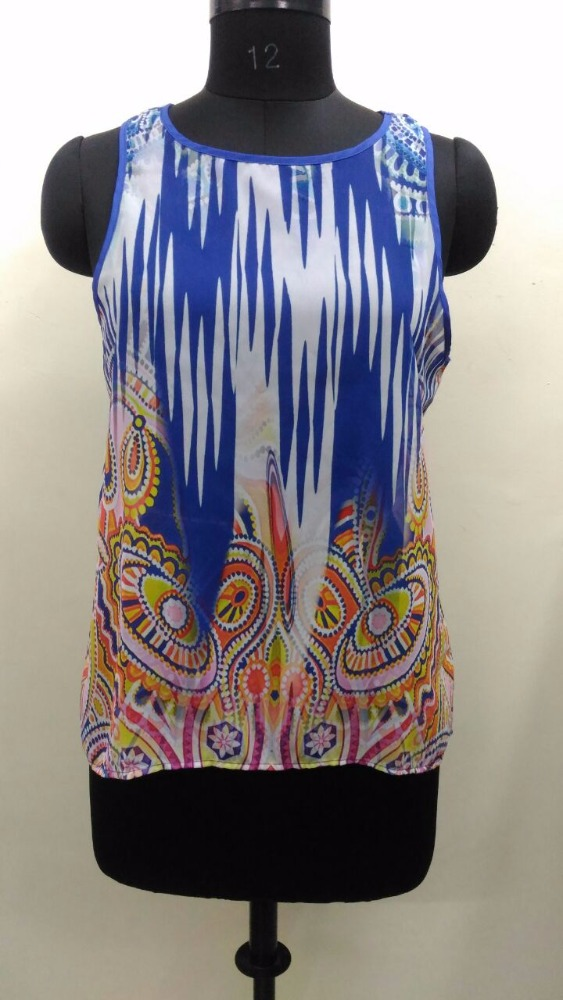 New Design Digital Print Ladies Tops,Fancy Tops For Ladies