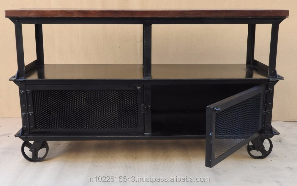 Industrial console wheel table view industrial roller for Sofa table on wheels