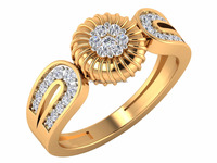 Wholesale Hallmark certified 14kt Yellow Solid Gold Certified Natural Diamond Handcrafted Floral Womans Ring
