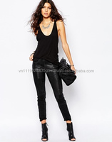 T_ New washed design high quality plain black skinny jeans for women