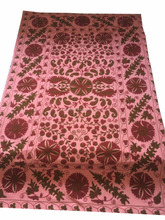 Handmade Indian Embroidery Bed Sheets, Embroidery Designs Bed Cover, Hand Embroidery Suzani Bed Sheet