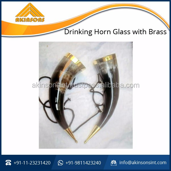High Quality Drinking Horn Glass with Brass at Nominal Price