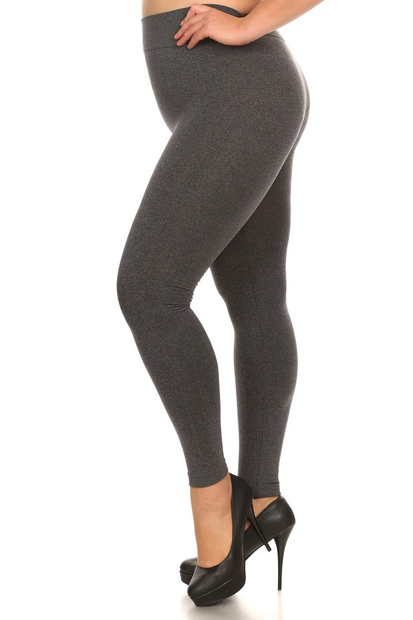 Plus Size Leggings Solid Color Black and Charcoal