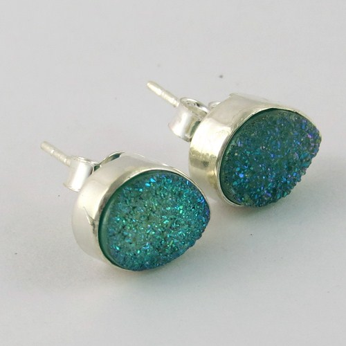 Amazing !! Green Agate Druzy 925 Sterling Silver Studs Earring, India Silver Jewelry Wholesaler, Gemstone Earrings