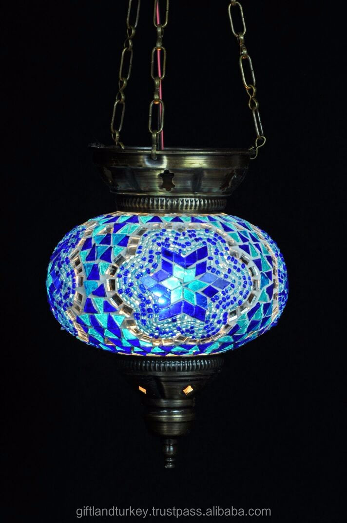 UFO Style Candle Holder For Hanging with long Iron Chain Mosaic Glass