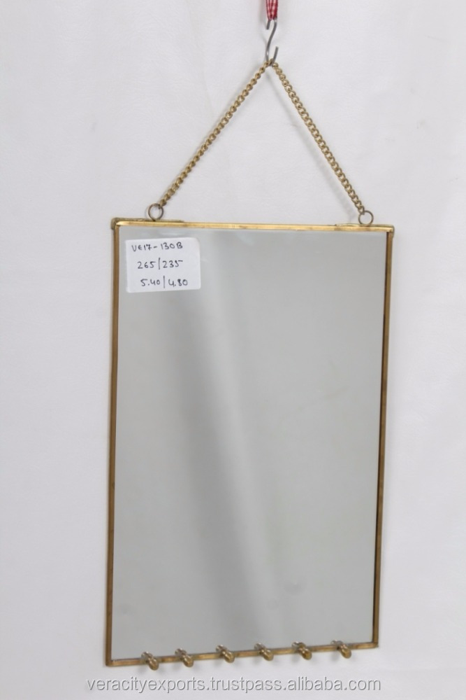 Wall Decor Mirror with Jewelry Hooks