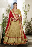 Cream And Red Designer Lehenga Choli