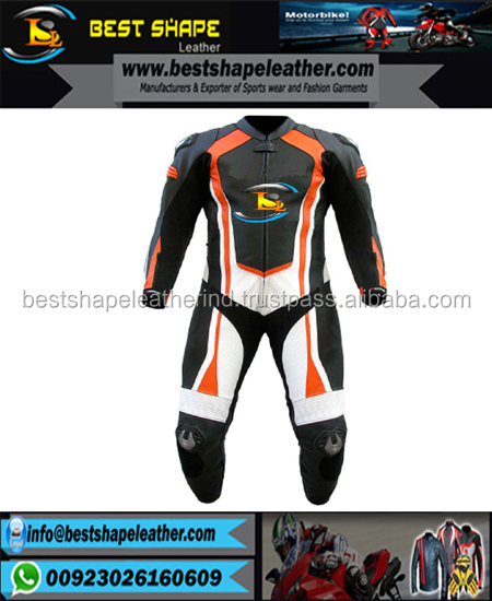 Custom Men Motorbike Suits /Genuine Leather High Quality One Piece Racing Suit