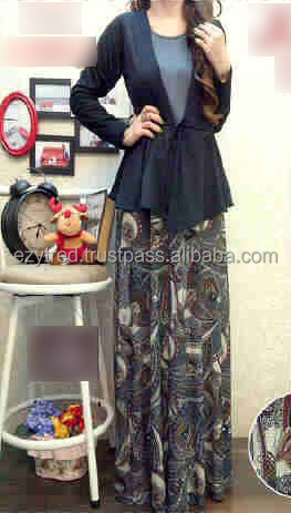2 Pieces Ribbon Basic Cardigan with Floral Jubah Dress