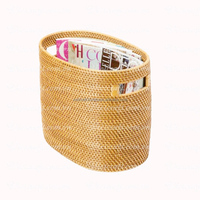 Ecofriendly nice design rectangular woven wicker basket with handles useful for magazine book and newspaper storage