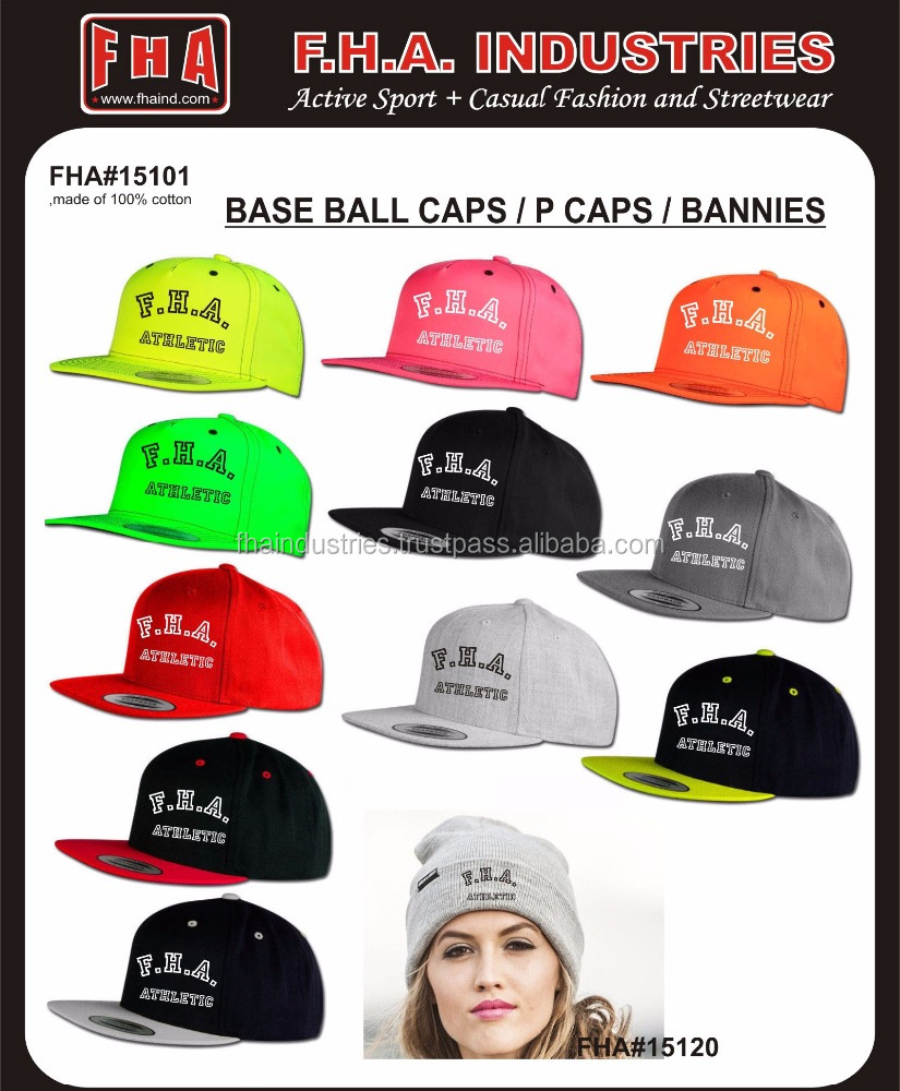 P Cap With Embroidery Logo on Front, Gym Caps With Custom Logo, Snap Back P Caps Cheap Price Fitted Caps/Beanies / from Sialkot