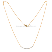 18k Gold Chain Necklace With Diamonds Pendant from Jaipur India
