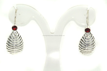 Red Garnet Round Cut 925 Sterling Silver Earring