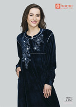 She'N'She Premium Velvet Blue Home Nighty #4367