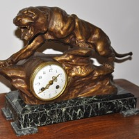 Original Antique T.Cartier Clock - Tyger Bronze, Marble - France, Art Deco