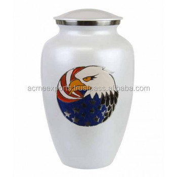 Brass White Urns With Eagle Design