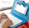 Universal Wireless Bluetooth Keyboard Holster Flip PU Case Cover For Cellphone in 4.5''-6.5'