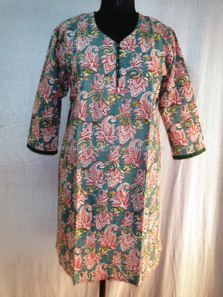 Hand Block Printed Ladies Tunic Top Women Kurtis Blouse Designer Handmade Kurta
