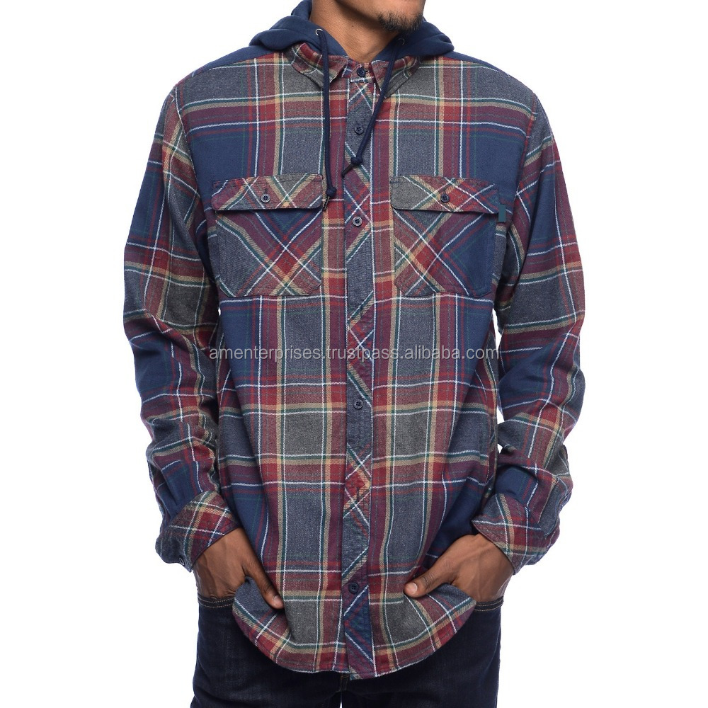 Flannel shirt with hood/Custom flannel shirt with hood/Cotton flannel shirt with hood