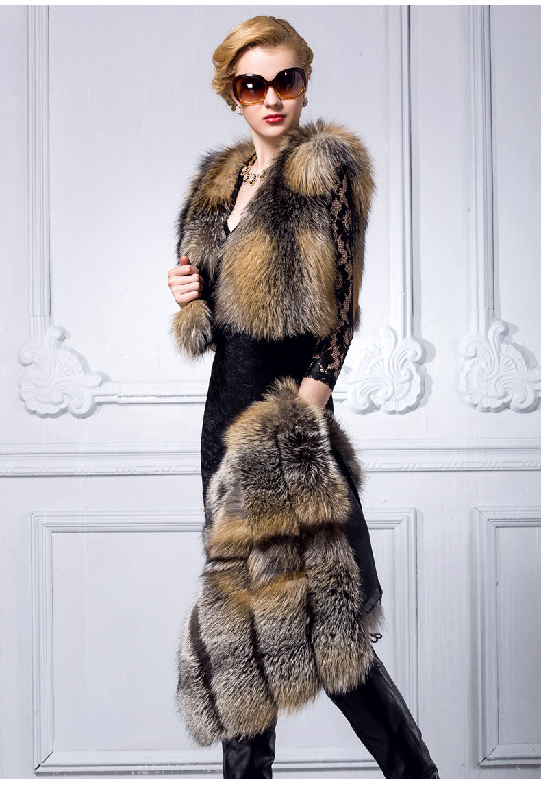 Fluffy Black Finland Fox Fur Long Vest