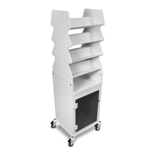 "TrippNT 50252SMOKE, 19"" x 57"" x 17"" White PVC Tall Slanted Suture Cart with Bulk Storage Area and Smoke Acrylic Door"