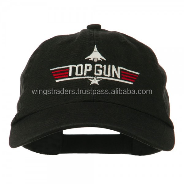 Top Gun Fighter Embroidered Washed Cap - Black Army Baseball Cap