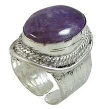 Silver Plated Amethyst Stone Large Ring Fashion Jewelry For Women Size Adjustable SR8176