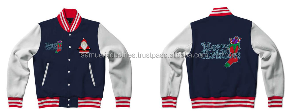 Customized Santa Clause Embroidered VarsityJackets\Christmas wool Varsity Jackets With Custom Brand Names and Logos of Christmas