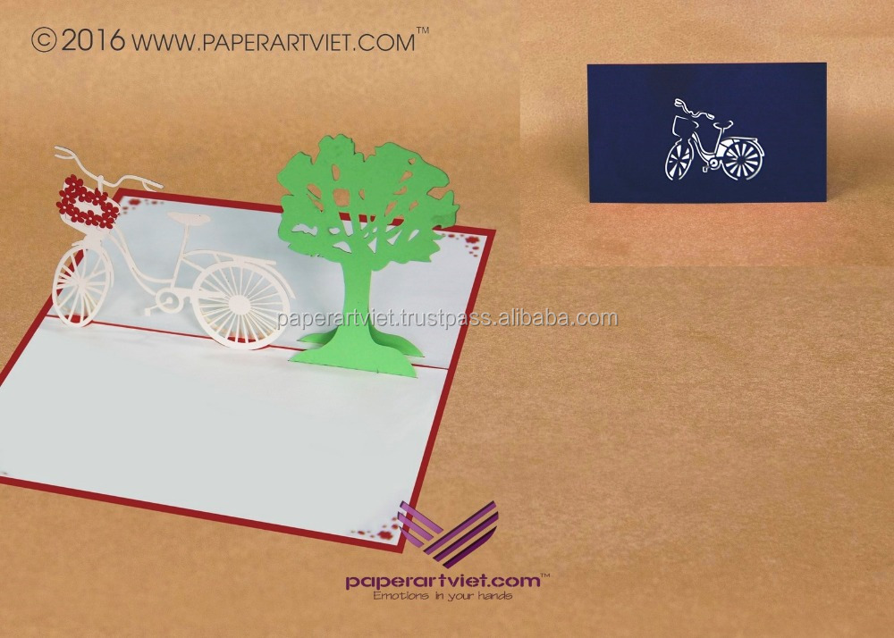 3d pop up card flower bicycle/ tree card