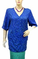 Indian New Top Tunic Women Kurti V Neck Blue Color